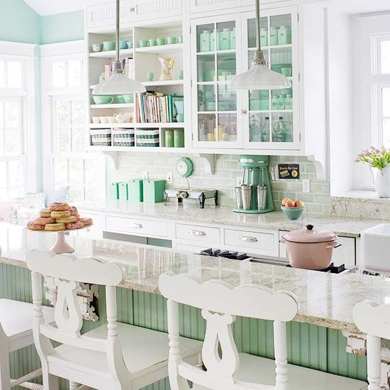 I'd like this kitchen with no beadboard, less hideous stools, and navy blue walls. Oh, and no stupid baskets. More or less everything else can stay, though.