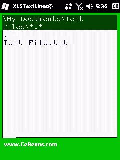 XLSTextLines©  This utility converts a standard ASCII text file to a Microsoft Office spreadsheet (XLS). Use the built in file explorer to locate the text file and tap on it to convert the XLS file format. You can also preview the XLS spreadsheet in Pocket Excel. The XLS spreadsheet libs are from 'xlslib -- A multiplatform, C/C++ library' Copyright(c) 2008 David Hoerl  http://www.cebeans.com/xlstextlinesp.htm