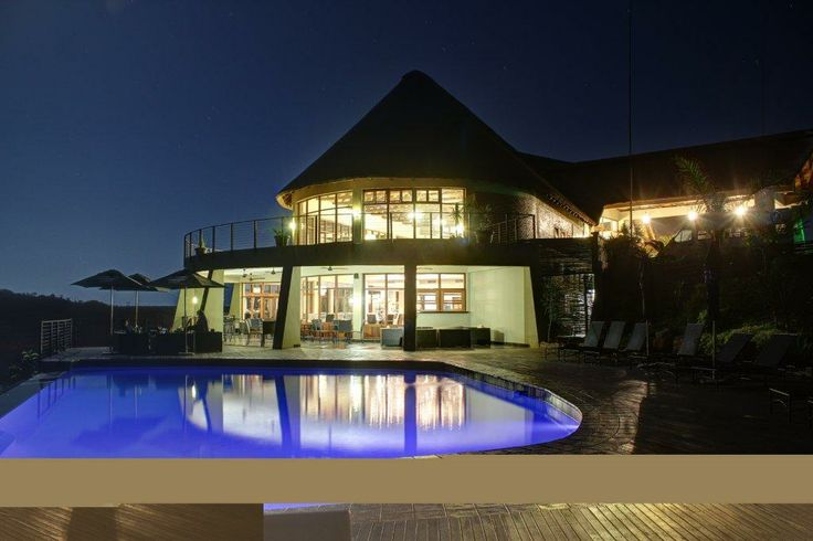 A spectacular night shot of our pool area
