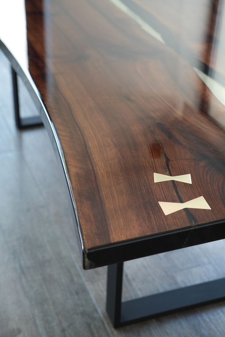 Split Walnut Casted Table Epoxy Resin Collection Side Close Up Farmhouse Table Pinterest