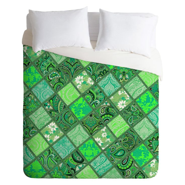 Aimee St Hill Patchwork Paisley Green Duvet Cover by DENY Designs - 16648-DLIKIN