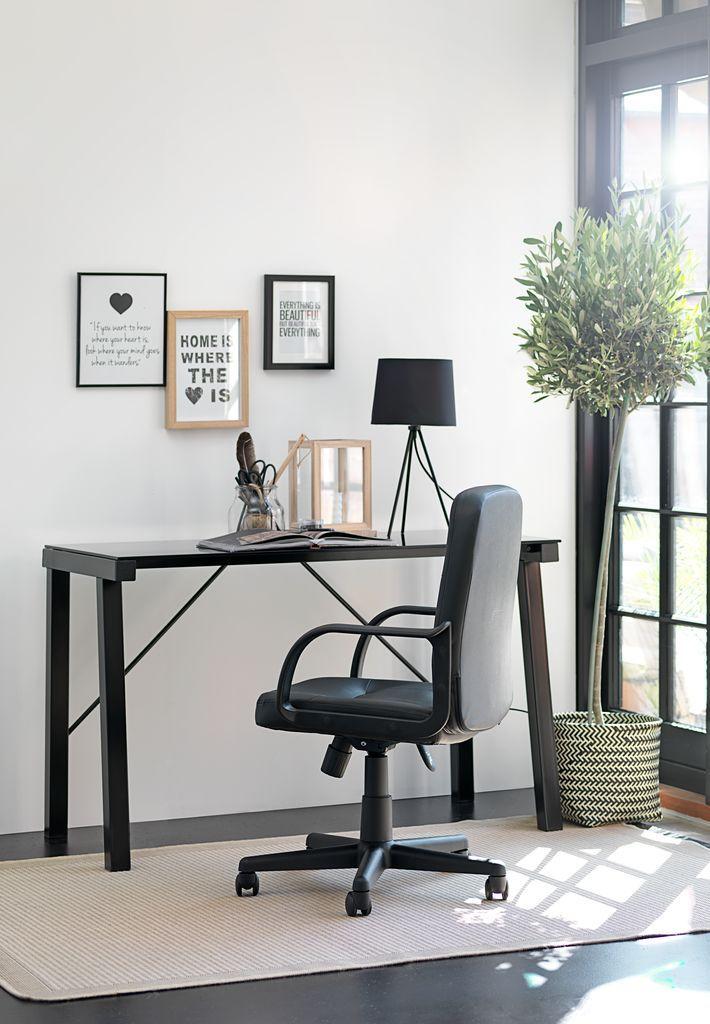 Bureau KETTINGE glazen blad zwart | JYSK