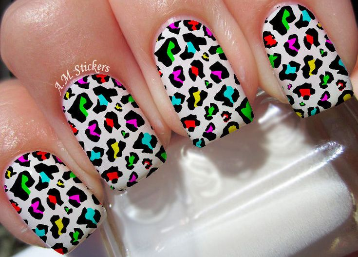 Details about Multi Color Leopard Print Nail Art Stickers Transfers Decals Set of 22 These decals can be applied to any type of nails (regular polish, soak off gel, hard gel and acrylic). Multi Color Leopard Print nail decals, very pretty, bright stickers with unique designs. Multi Color Leopard Print nail stickers made on high quality decal paper. | eBay!
