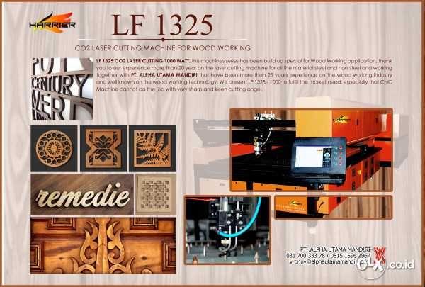 High Power CO2 Laser Cutting untuk Wood Working Industrial, maupun untuk kebutuhan kebutuhan interior.