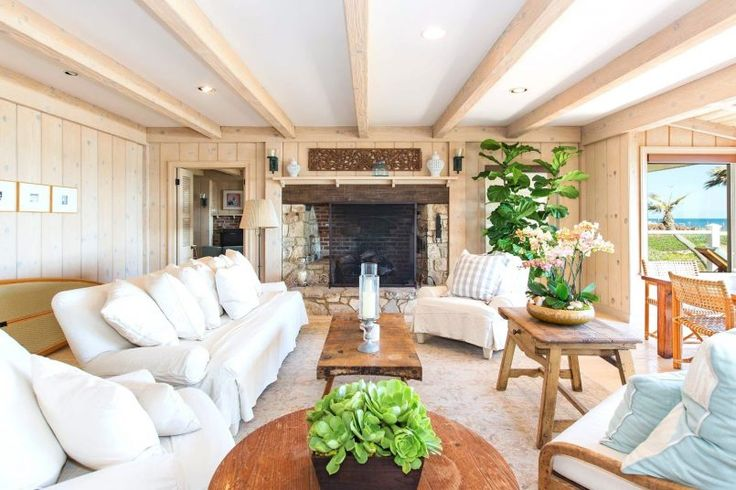 Living Room Tropical Decoration Using Indoor Planters Combined With Bright White Sofa Under Beam Wooden Ceiling For Natural Living Rooms Design How to Put the Most Exciting and Exotic Houseplant in Green Living Room