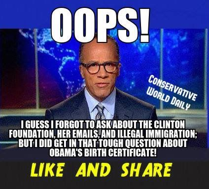 Lester Holt..We knew going in what the outcome would be. Fair? Not I this world. The Progressives have had the schools for a long time. The journalist is your average democrat. So, we the Republicans have to try harder. M.W. 10/1/16