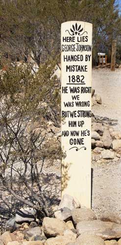 Tombstone AZ..he was right_we was wrong_but we strung him up_and now he's gone