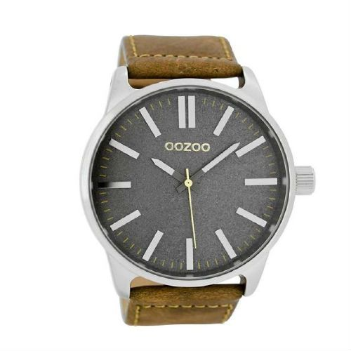 Oozoo Anthracite Watch in Tan and Silver 48mm: Introducing the new anthracite range from Dutch manufacturer Oozoo with this 48mm watch in tan and silver.
