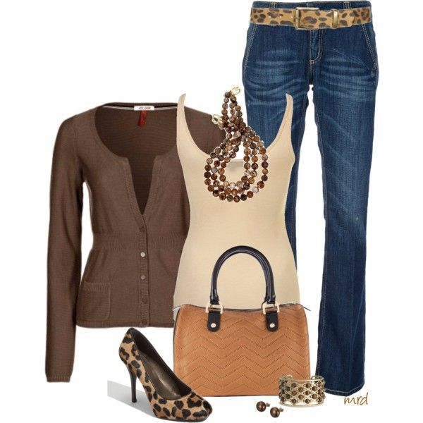 QS by s.Oliver Cardigan brown/jeand/nude tank/leopard shoe/camel bag