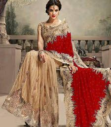 Buy red embroidered velvet saree with blouse velvet-saree online