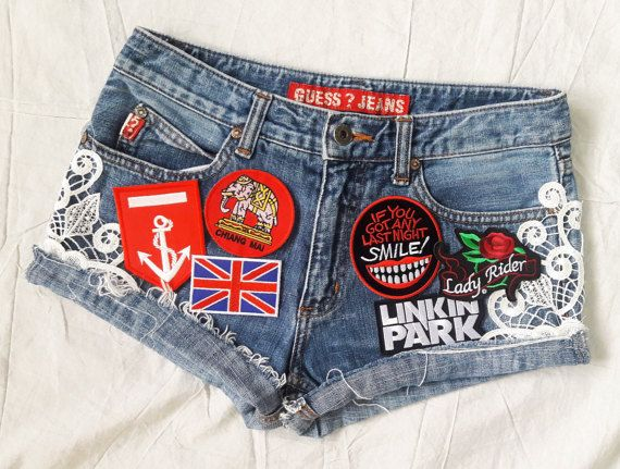 Denim Shorts With Patches - The Else