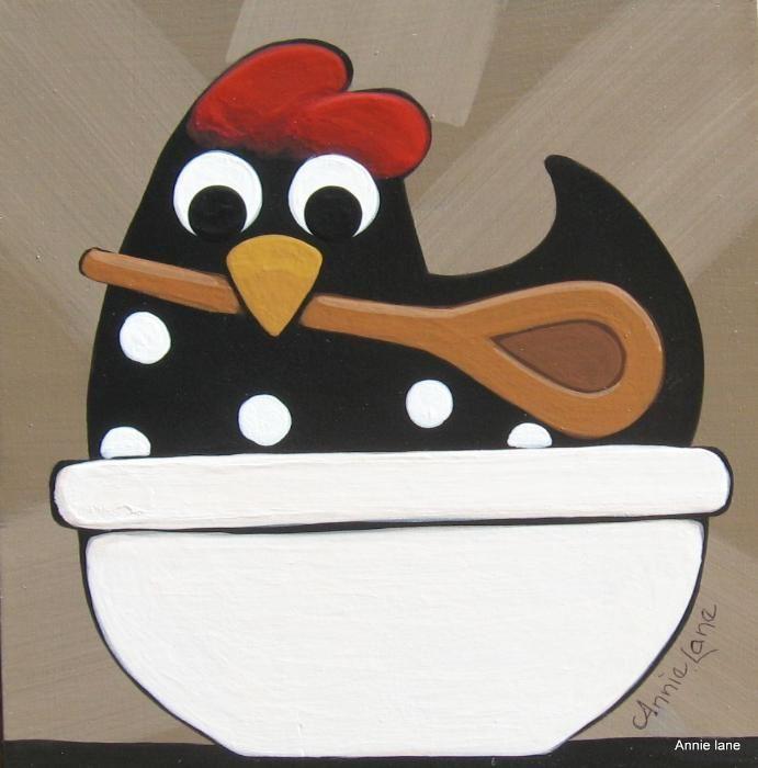 """ A Helping Hen "" Whimsical Chicken Art by Annie Lane  www.yessy.com/annielane"