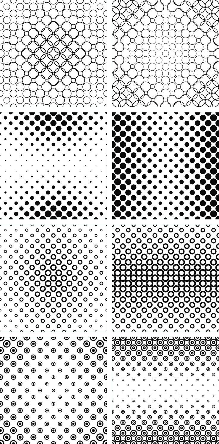Monochrome circle pattern collection