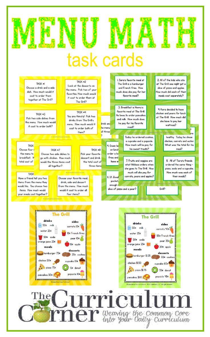 Uncategorized Menu Math Worksheets Free 118 best images about teaching math on pinterest adding menu center