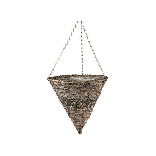 "35cm (14"") White Wash Rattan Hanging Cone"