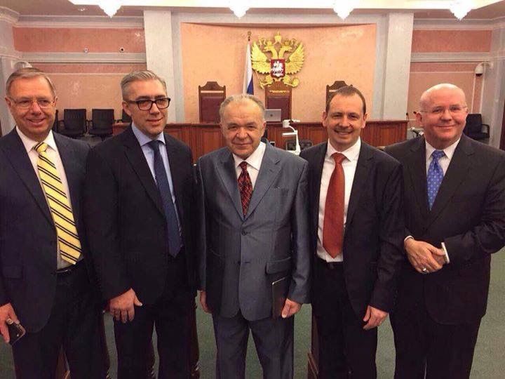 "- Mark Sanderson with our brothers at today's Supreme Court hearing in Russia Smiling, James 1 v 2 ""Consider it all joy, my brothers, when you meet with various trials, 3 knowing as you do that this tested quality of your faith produces endurance""; I'm humbled, Amazing Faith."
