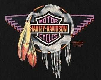 Vintage HARLEY DAVIDSON 3D Emblem Tshirt 1988/ by sweetVTGtshirt