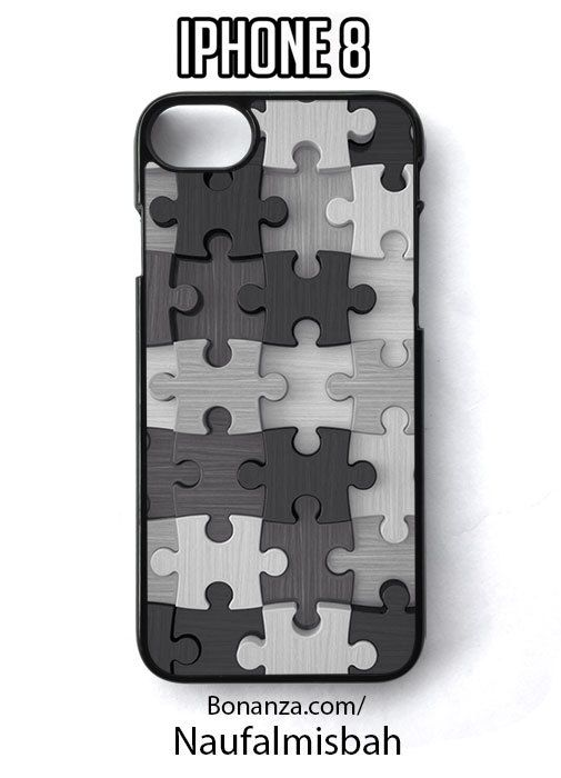 Grey Puzzle Pieces Pattern iPhone 8 Case Cover - Cases, Covers & Skins