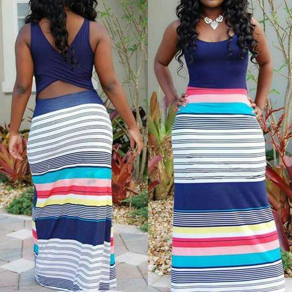 Hollow waist pin stripe maxi dress