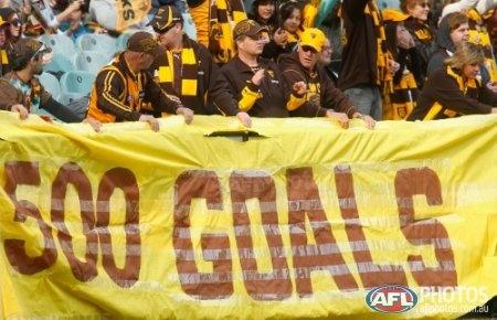 Buddy kicks 500 career goals. AFL 2012 Rd 15 - Hawthorn v GWS Giants