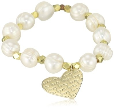 Mercedes Salazar Pearls and Small Heart Charm Elastic Bracelet: Jewelry: Amazon.com