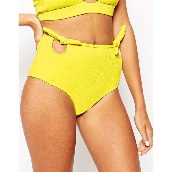 Motel Yellow Sun Cut Out Bow High Waisted Bikini Bottoms (17 CAD) ❤ liked on Polyvore featuring swimwear, bikinis, sun yellow, highwaisted bikini, bow bikini, yellow bikini bottoms, highwaisted bikini bottoms and cut out bikini bottom