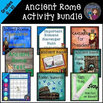 $ Ancient Rome Activity Bundle includes 8 engaging and interactive activities to go along with your unit on Ancient Rome. It also includes an editable test. Each product in the bundle is available for purchase separately.**This product is a Dropbox download.