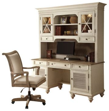Riverside Furniture Coventry Two Tone Credenza & Hutch in Dover White - transitional - buffets and sideboards - Cymax