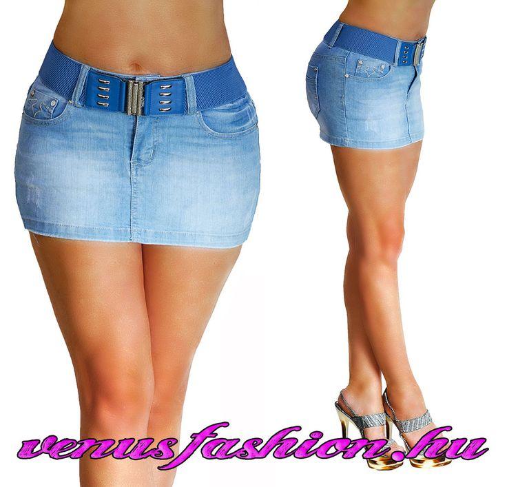 Divatos farmer mini szoknya övvel S M L XL - Venus fashion női ruha webáruház