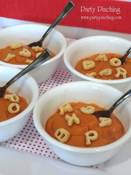 """Easy peasy Back-to-School snack!  No, it's not alphabet soup, it's pudding!  I just tinted butterscotch pudding (my son's fav) with a little orange food coloring, added some Alphabits cereal, and you have a sweet Alphabet """"soup""""!"""