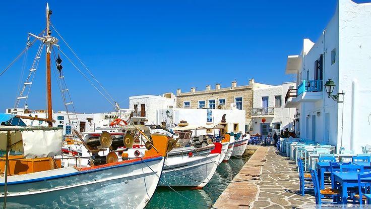 Greek Fishing Harbour Village HD Widescreen Wallpaper