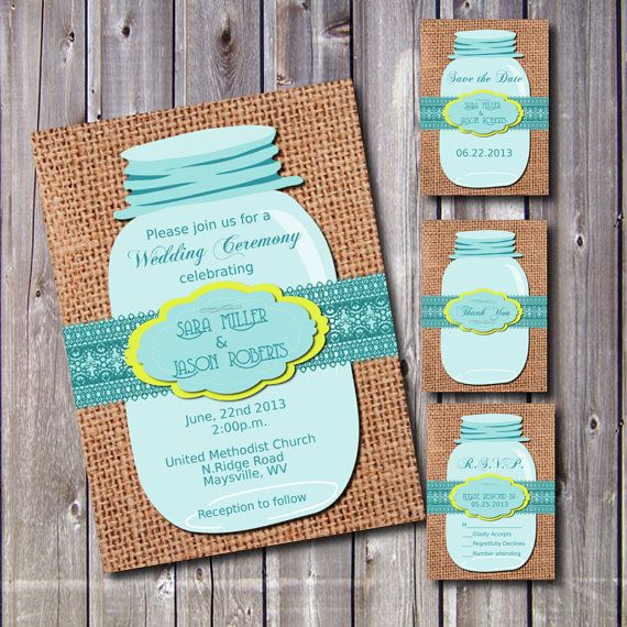 DIY Printable Wedding Invitation Suite-Country- Mason Jar-Rustic- Burlap-DIY-Set-print your own-Teal Yellow via Etsy