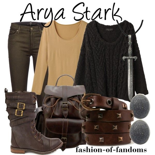 Arya Stark by fofandoms on Polyvore featuring rag & bone, Uniqlo, 7 For All Mankind, Charlotte Russe, Grafea, Rena Luxx, Forever 21, arya stark and game of thrones