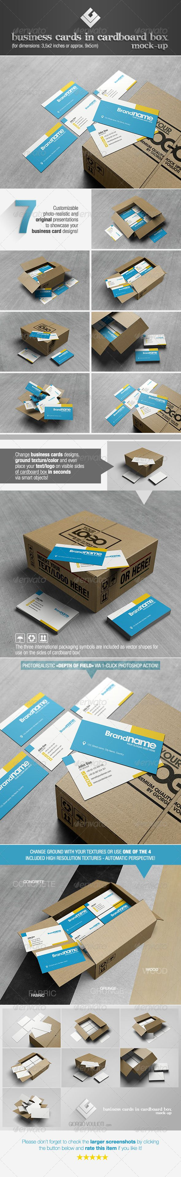 Business Cards in Cardboard Box Mock-Up :  Check out this great #graphicriver item 'Business Cards in Cardboard Box Mock-Up' http://graphicriver.net/item/business-cards-in-cardboard-box-mockup/6321546?ref=25EGY