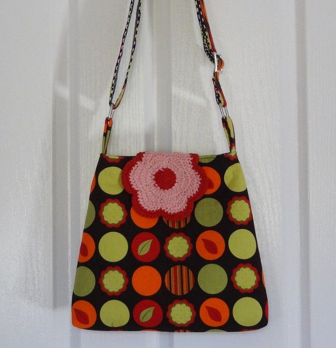 Andalucia Citrus Sling/Messenger/Shoulder Bag with Crochet Flap - by OneBusySloth on madeit
