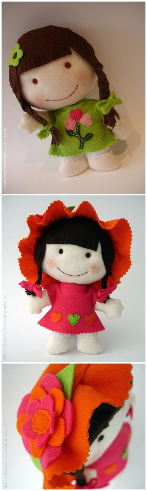 Adorable dolls ~ Felt dolls by Silvia - Ameninabrinca Blogspot ~