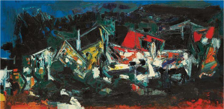 S. H. Raza Medium: Oil on canvas Year: 1959 Size: 19.2 x 39.2 in.