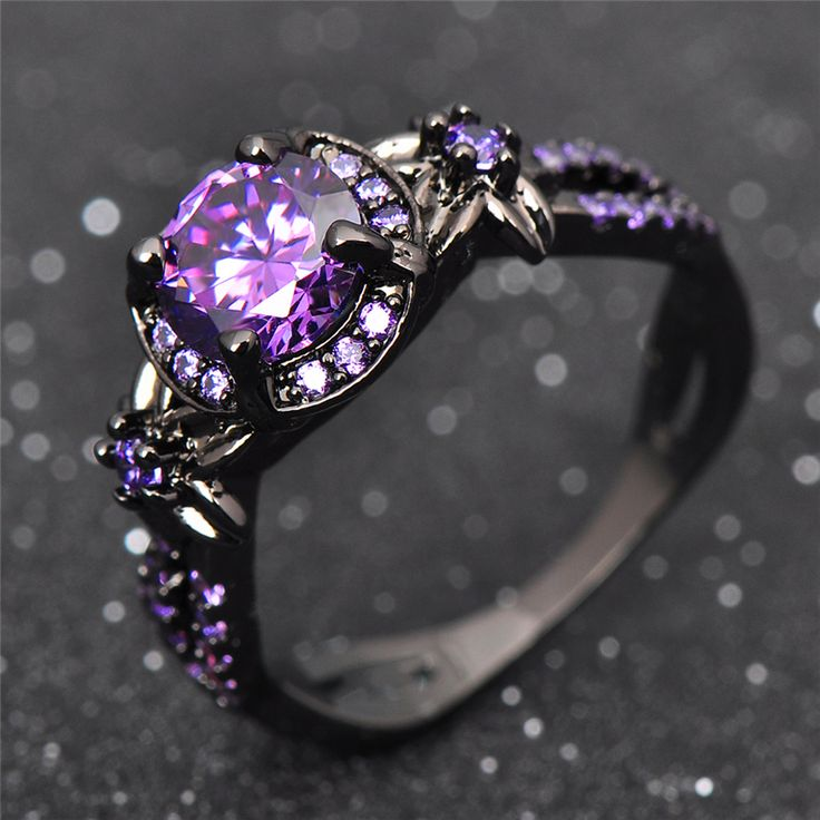 Charming Amethyst Ring Purple Zircon Fashion Women Wedding Flower Jewelry Black Gold Filled Engagement Rings Bague Femme RB0433-in Rings from Jewelry & Accessories on Aliexpress.com | Alibaba Group