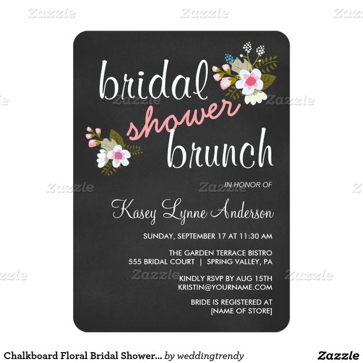 Chalkboard Floral Bridal Shower Brunch Invites 8