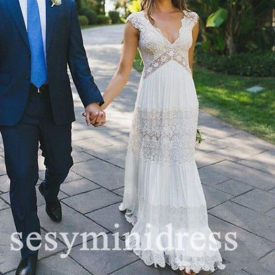 Lace Maternity Pregnant Wedding Dresses Backless Beach Vintage Bridal Gown White