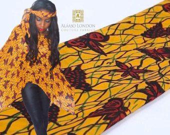 Klassieke Butterfly Ankara Chiffon stof door TheFabricMintLondon