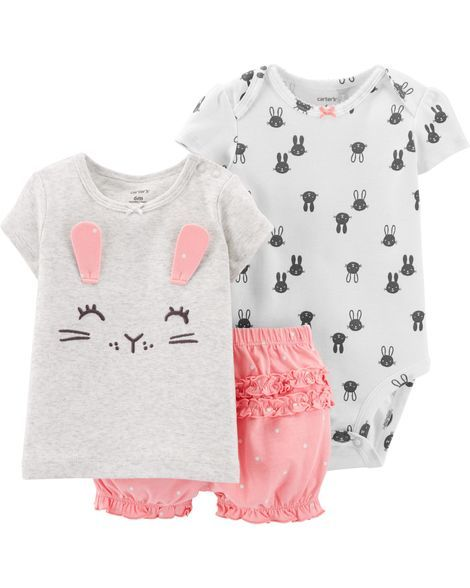 91628895d 3-Piece Bunny Little Short Set | Products | Baby girl christmas ...