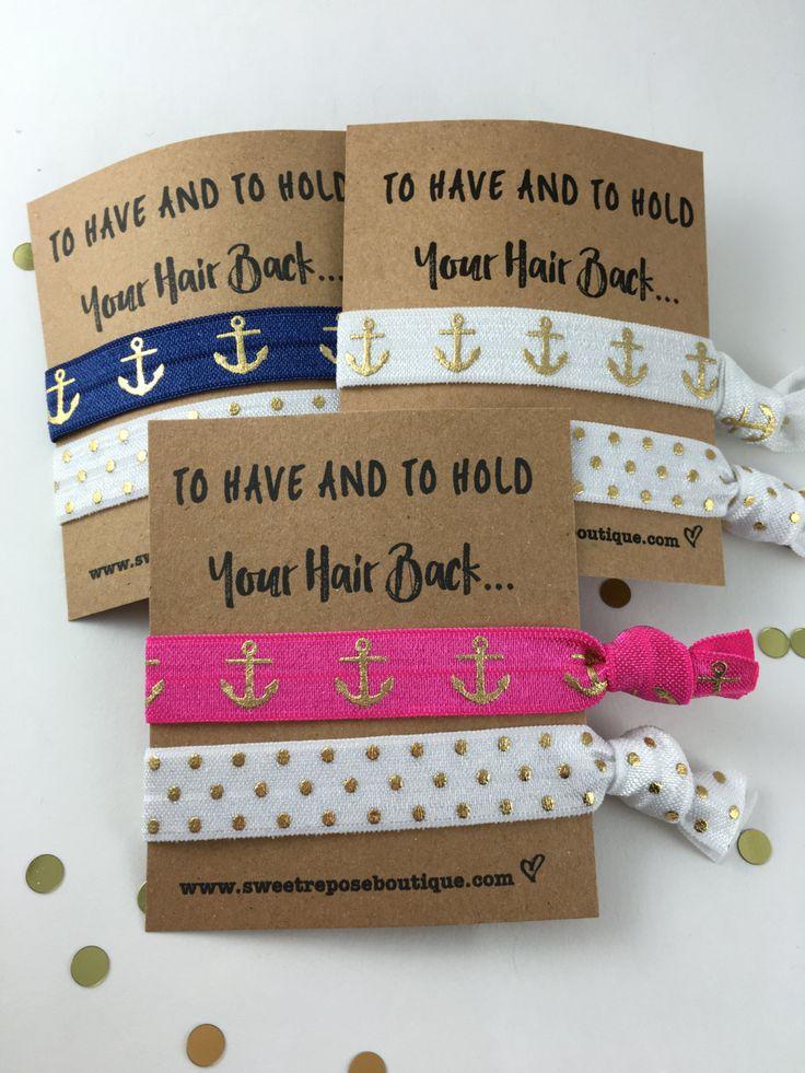 Nautical Bachelorette Party Favors// Bridesmaid Gift// Pink Navy White Anchors// Anchors - Bachelorette Survival kit - Hair Tie Favor, Gift