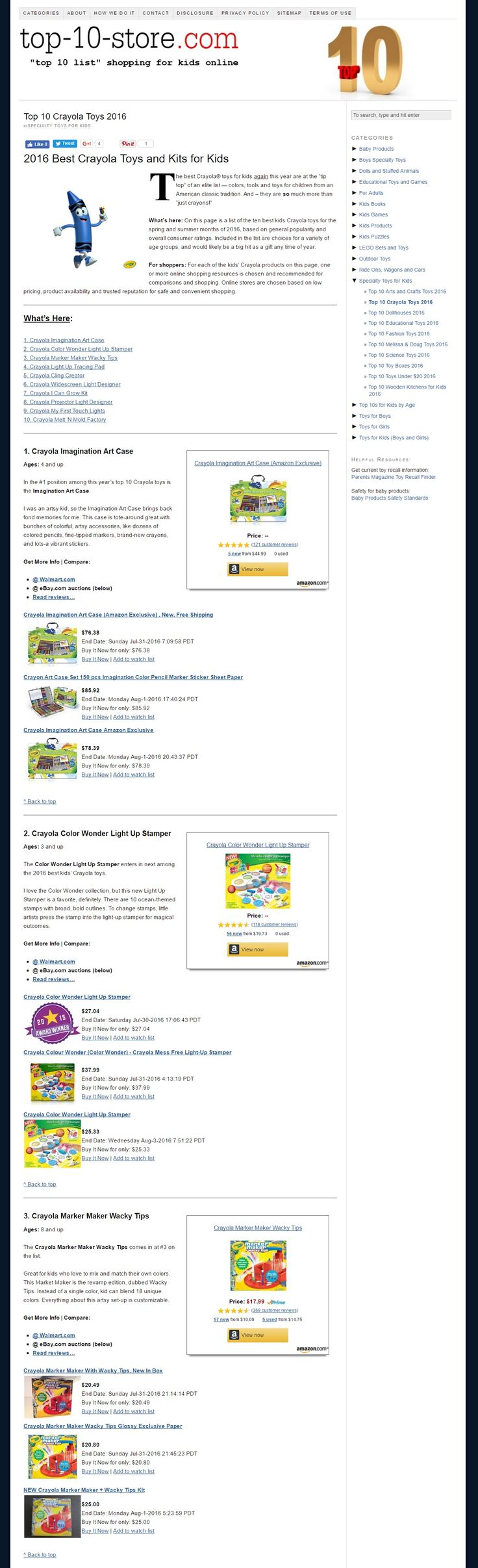 Best Crayola Toys and Kits for Kids 2016 Top 10 List