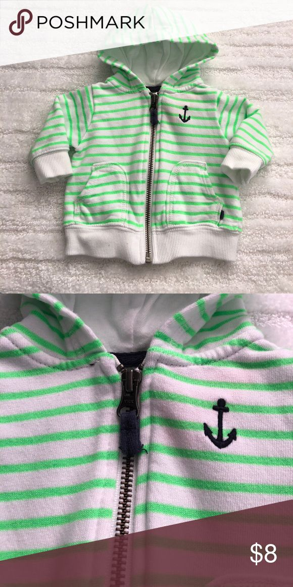 Baby Boy Green and White Striped Zip-up Hoodie Baby Boy Green and White Striped Zip-up Hoodie. Navy Blue Anchor. Great condition! Carter's Shirts & Tops Sweatshirts & Hoodies