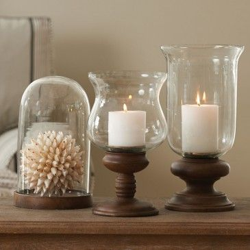WOOD BASE HURRICANE CANDLE HOLDER Morgan & Finch