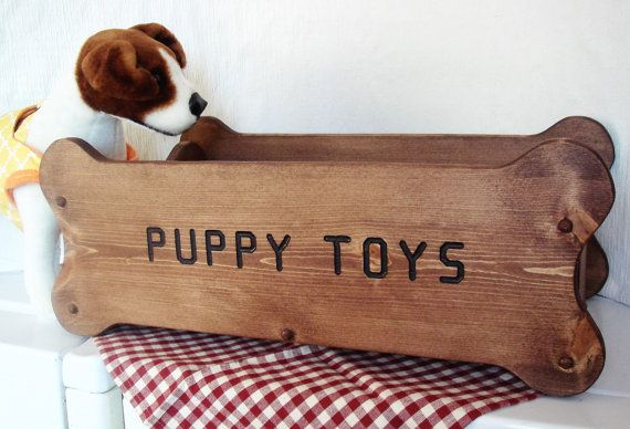 Large Dog Toy Box  Does your dog have toys all over the house? Here is a Great Solution! A Toy Box for dogs with Lots of toys!  This toy box is 24 X 12 3/4 and is 9.5 tall. It is made from top quality pine wood and will be stained and sealed.   We offer 7 stain colors. Color choices are walnut, red mahogany, ebony, weathered oak, oak, cherry or red chestnut.  We offer personalization.....whatever you wish will be routered into the wood and inked in black.  Please note what you wish it to say…