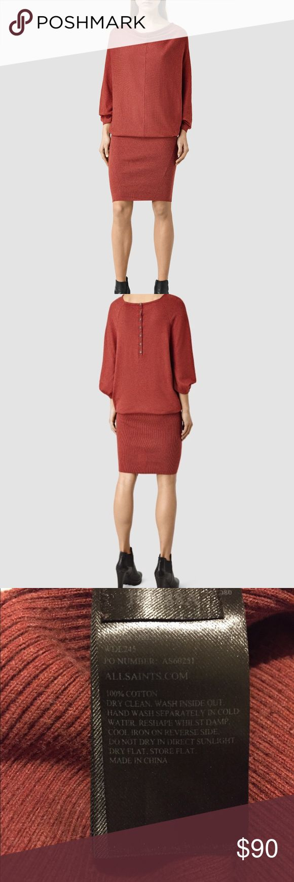 AllSaints Fall Cotton Knit Dress AllSaints Elgar Dress ✔️100% Portuguese Cotton ✔️Handwash or Dry Clean  Get a piece of UK's top fashion forward high end street style brand! All Saints Dresses Midi