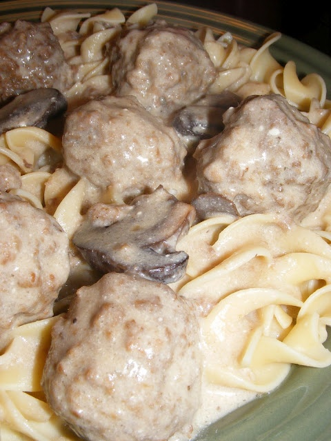 Crockpot Meatball Stroganoff - w/ cream of mushroom soup and beef broth