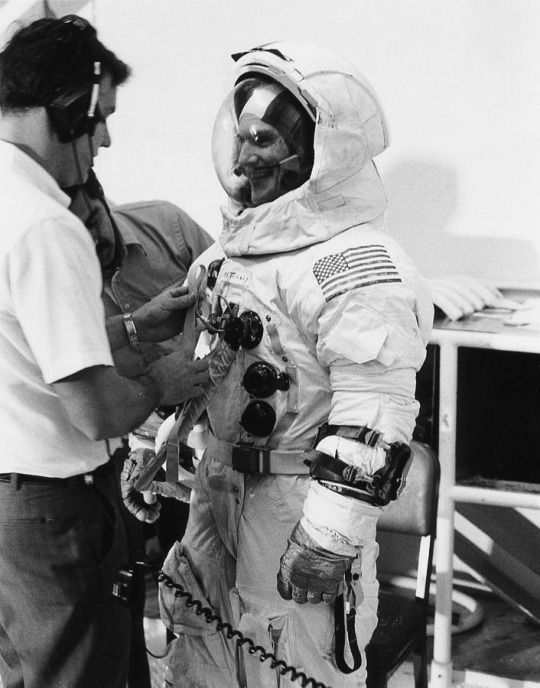 Apollo 16 astronaut Ken Mattingly suits up for training on December 2, 1971